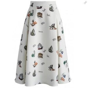 NWT Chicwish vacation mood a-line midi skirt